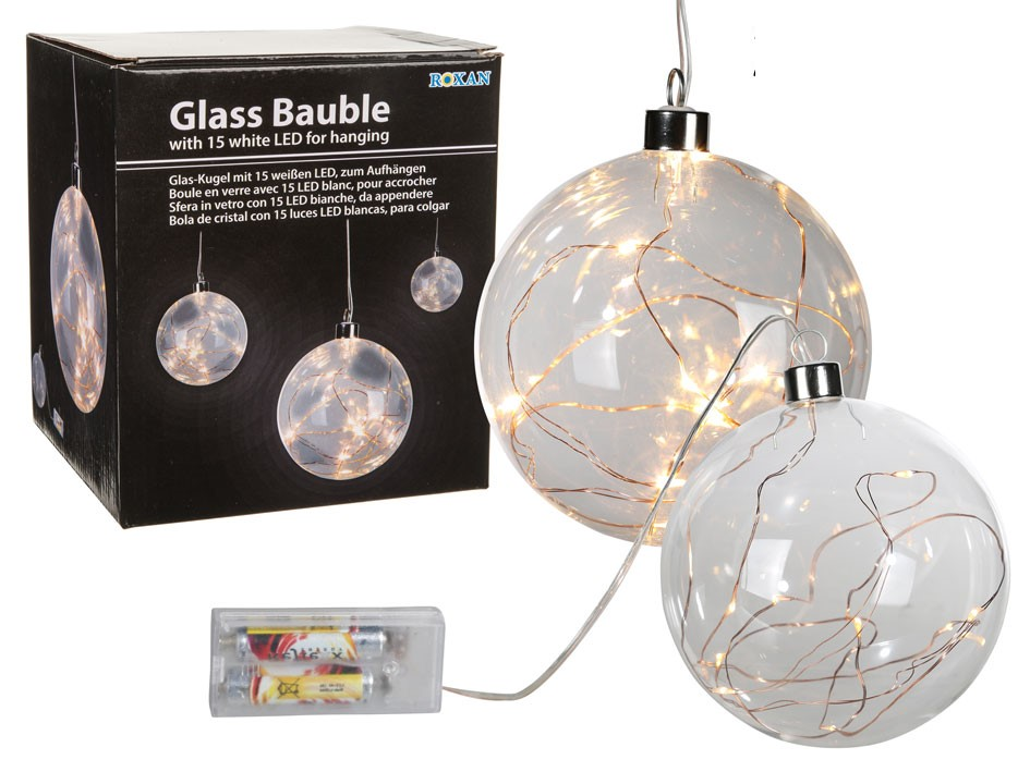 Glaskugle med LED