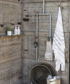 Hamam håndklæde hvid med sort stripe