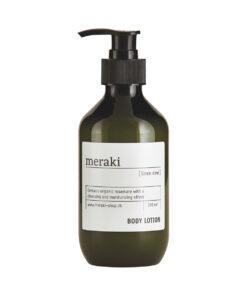 Meraki bodylotion - Linen Dew - grøn flaske med hvid etiket og praktisk pumpe