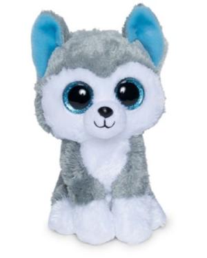 bamse hund grå med hvid mave og poter, fine blå øjne og blå inde i de fine spidse ører