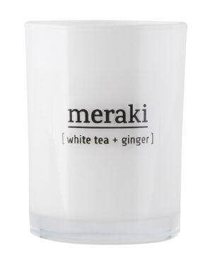 duftlys i glas, med duft af white tea og ginger
