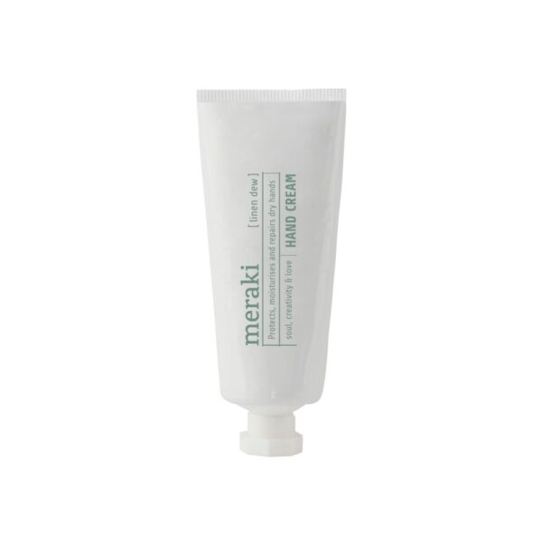Meraki håndcreme - Linen Dew lille hvid tube med grøn skrift
