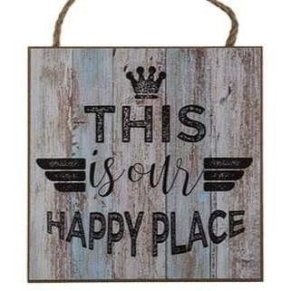 Træskilt med tekst - This is our happy place
