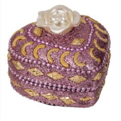 Out of the blue - Smykkeskrin med perler - Hjerte lilla