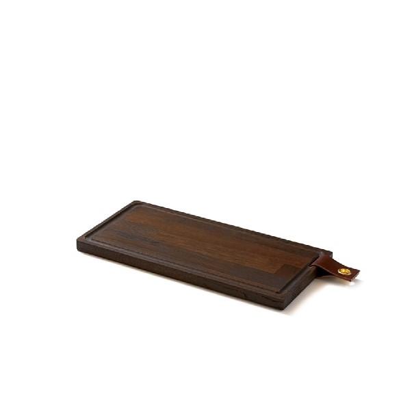 Denwood - Skærebræt med læderstrop 40X20X2 cm - Sort bejds