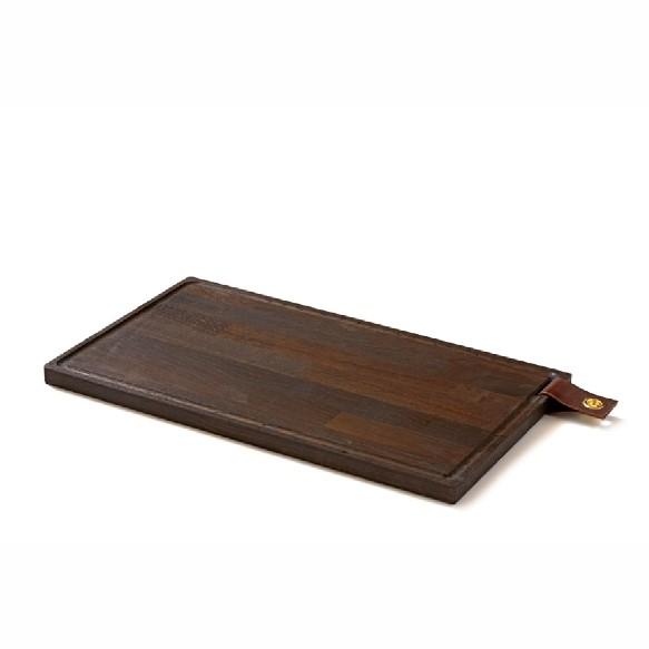 Denwood - Skærebræt med læderstrop 50X30X2 cm - Sort bejds