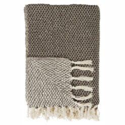 Ib Laursen - Plaid - Mørkebrun-creme mønster