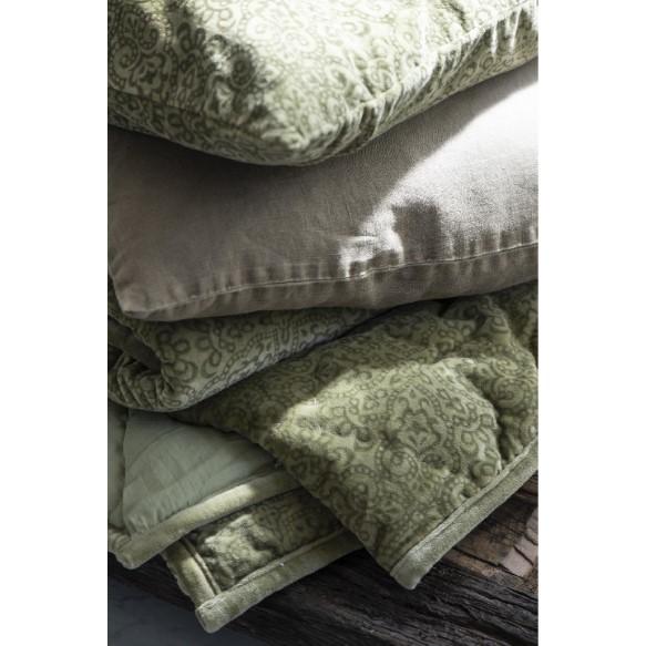 Ib Laursen - Quilt - Velour-grøn med print 3Ib Laursen - Quilt - Velour-grøn med print 3