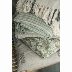 Plaid - creme grønt stribemønstet - Ib Laursen